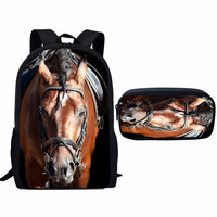 ThiKin Crazy Horse Printed Children Schoolbag Set 16inch Kid Backpack Primary School Backpack Student Satchel Daily mochila