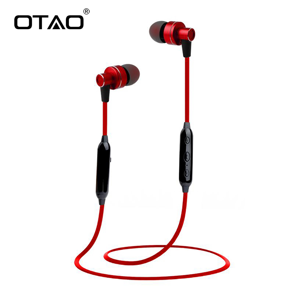 OTAO Wireless Bluetooth Earphones For Mobile Phone Handsfree Sport In-Ear Stereo Earbuds Super Bass Earphone honsigogo metal bluetooth earphone magnet wireless in ear earpiece sport stereo music earphones with hd mic for mobile phones