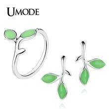 UMODE 2019 New Fashion Green Leaves Stud Earrings and Open Ring Set for Women Cute White Gold Stone Adjust Jewelry AUS0060