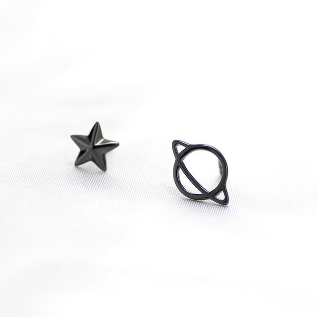 3539d7026 925 Sterling Silver Personalized Black Cosmic Planet Creative Pentagram  Star Female Asymmetric Stud Earrings For Women Jewelry