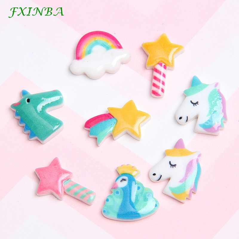 FXINBA 1/3/5/10pcs Resin Star Unicorn Charms For Slime Filler DIY Ornament Phone Decoration Charms Lizun Clay Slime Supplies Toy