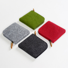 70PCS / LOT Coin Bag Unsex Purse Zipper Square Pure Colors Wallet Women Men Felt Pouch Money Wholesale