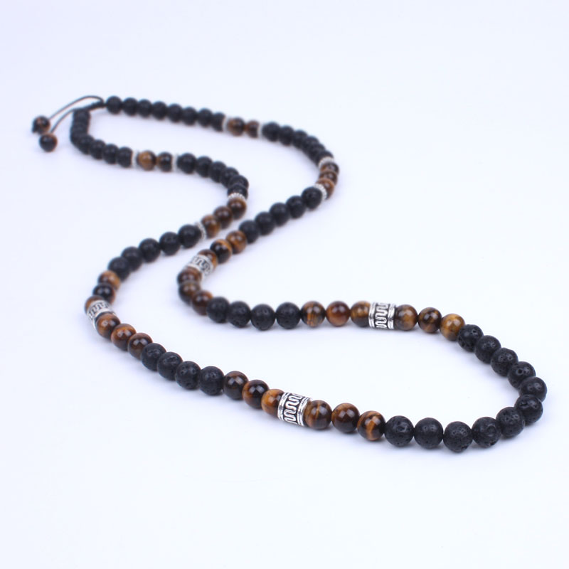 Men Necklace Lava stone and Onyx Energy Beads  Necklace Stone bead with Ancient silver metal steampunk Jewelry