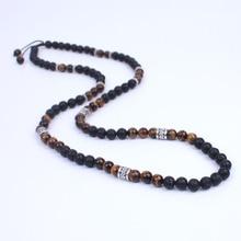 Hombres Collar de Shamballa de Los Granos de piedra de Lava y Onyx Energy Collar de bolas de Piedra con plata Antigua del metal de steampunk Joyería
