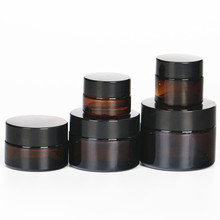 6pcs 5g 10g 20g 30g 50g glass jars for cosmetics Amber Glass Cream Jars Cosmetic Packaging with lid black plastic caps 6 x 50g round amber glass jar straight sided cream jars w black plastic lid cap inner liner for salve homemade lotion cosmetics page 8
