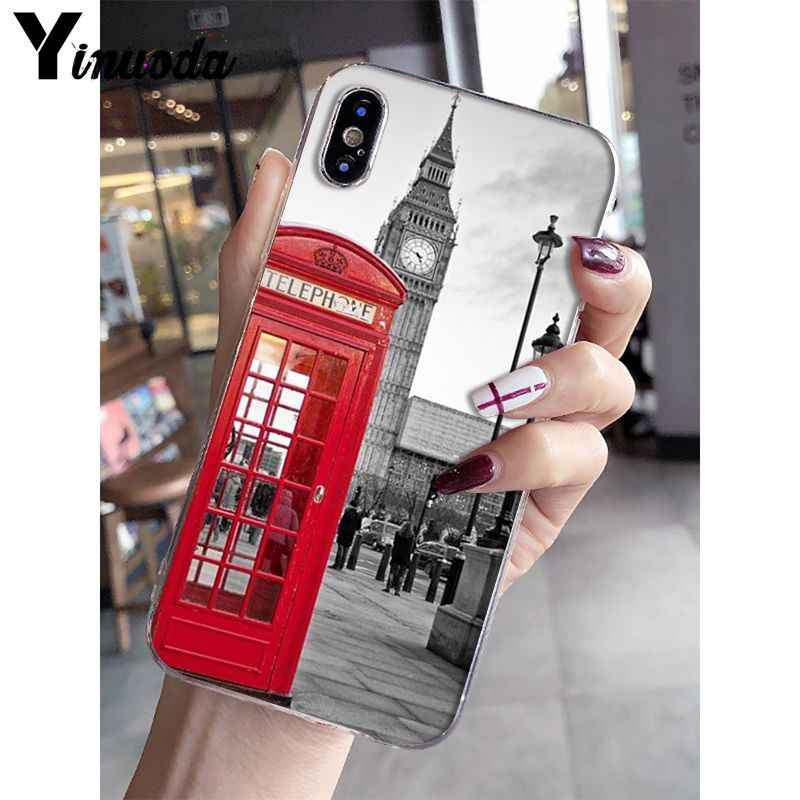 Yinuoda london bus england telephone Soft Silicone Phone Case for iPhone 8 7 6 6S Plus X XS MAX 5 5S SE XR 10 Cover