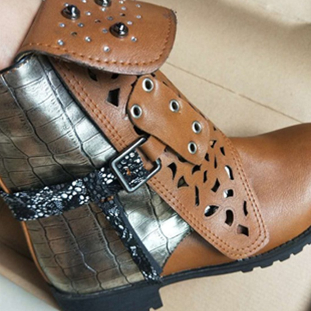 7a7d12c18d5 2018 Women Ankle Boots Vintage leather String Bead Hollow Zipper Rivet Belt  Buckle Martin Boots Women Short Tube Winter