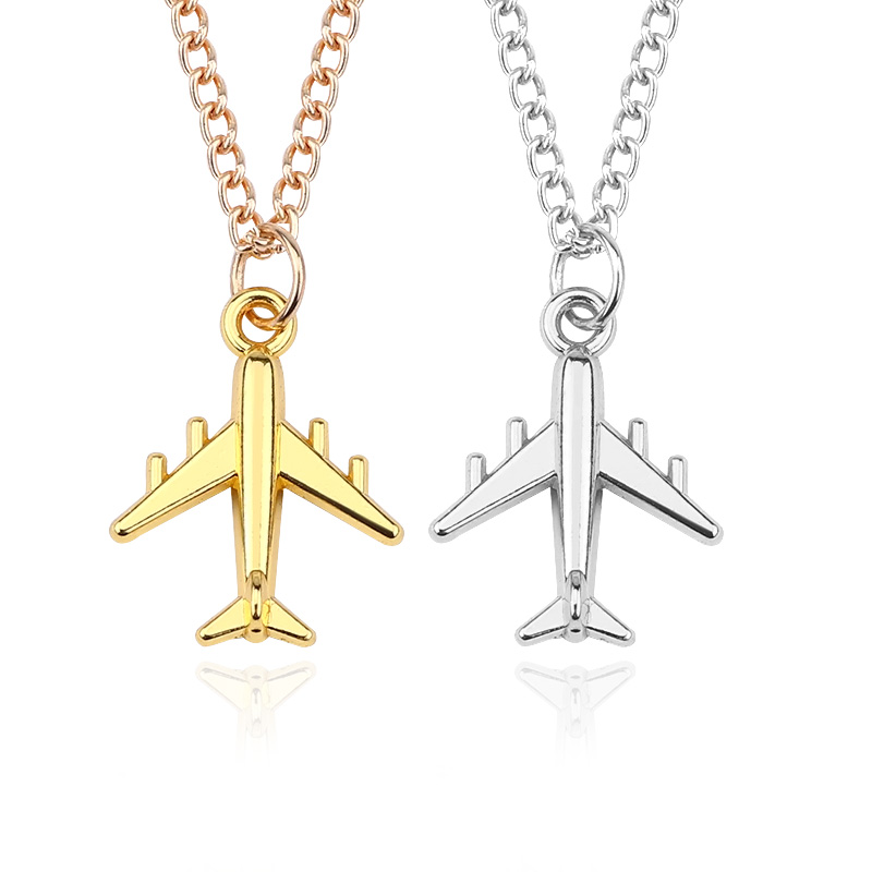 Airplane Necklaces & Pendants Silver Airplane Pendant Aircraft Choker Necklace For Women Men Handmade DIY Jewelry Dropshipping