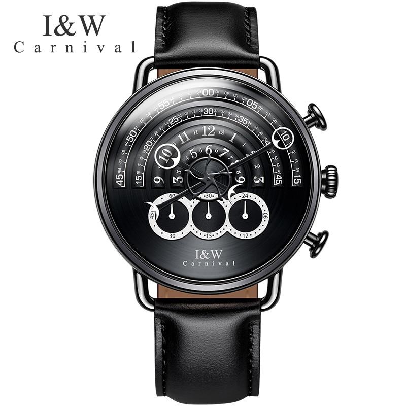 Unique multifonction montres carnaval 2017 nouveaux hommes chronographe sport Quartz montre de mode en cuir montres saphir cristal