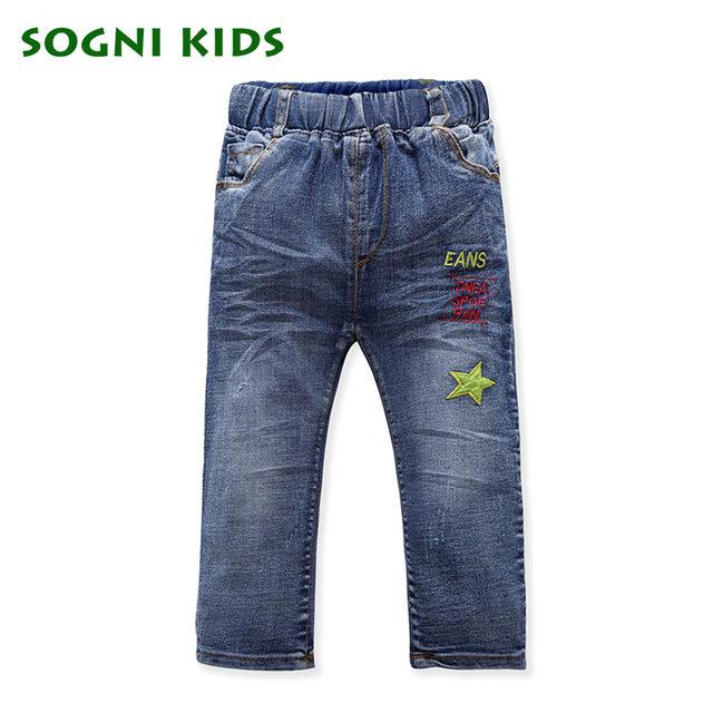 SOGNI KIDS Boys Jeans pants for boy 2-6Yrs children full denim pants for kid clothing spring autumn star boys casual trousers