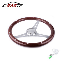 High Quility 15inch 380mm Steering Wheel Classic Sport Wooden Grain Silver Brushed Spoke Chrome RS-STW015-B