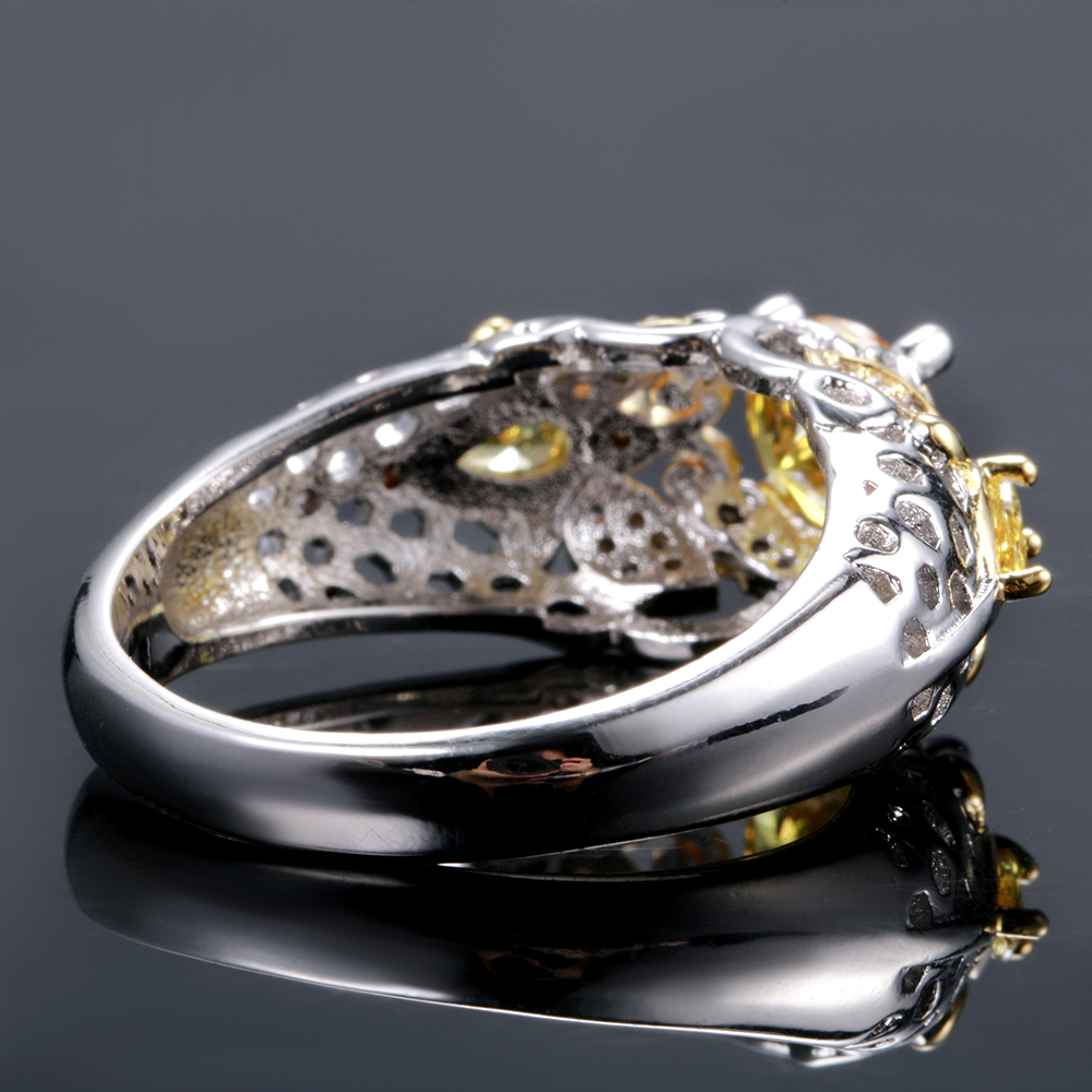 Yellow Citrine Animal Bee Finger Rings For Women Men With Zircon 925 Silver Jewelry Engagement Party Anniversary Gifts Size 6-10