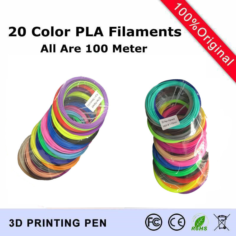 20 color set(Each Color Is 5 Meter) 3D Printer Pen Filament PLA 1.75mm Plastic Rubber Consumables Material 3d pen filaments