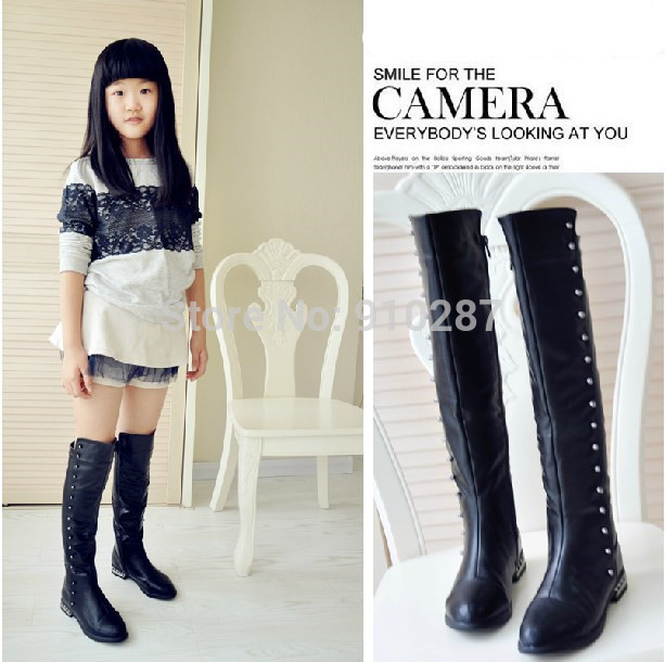 2014 autumn and winter rivet tall boots big kids over the knee ...