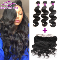 Brazilian Body Wave Virgin Hair Bundles With Lace Frontal Closure And Baby Hair Brazilian Human Hair Weave With Frontal Closure