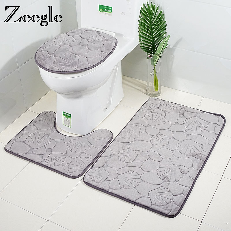Zeegle Microfiber Bath Mats Set Toilet Rugs Anti Slip Toilet Floor Mats Bathroom Carpets Set Toilet Lid Cover Shower Room Rug