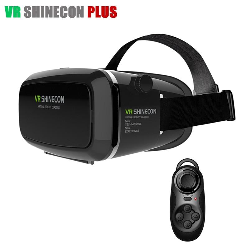 2016 <font><b>VR</b></font> <font><b>SHINECON</b></font> <font><b>Plus</b></font> 3D Head Mount Cardboard <font><b>Glasses</b></font> Helmet <font><b>Virtual</b></font> <font><b>Reality</b></font> Headset VRBOX For 4-6' phone + Bluetooth Controller