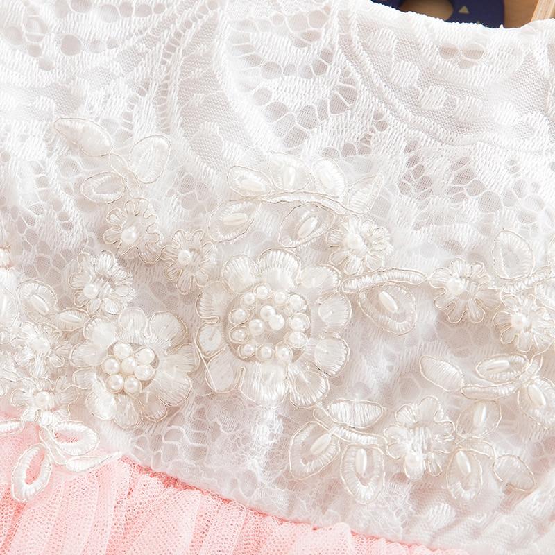 Summer Lace Girl Dress 2019 White Backless Girls Teenage Princess Dress Irregular Tutu 2-8 Years Pink Children Dresses Pink