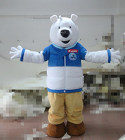 Hot selling 2016 Adult cartoon character lovely big white bear Mascot Costume Halloween party costumes free shipping