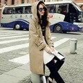Новый осенью и зимой 2017 женщин свободно тонкий длинный с капюшоном ветровка женщин тренчкот бесплатная доставка g926