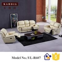 Leer sectionele banken automatische fauteuil sofa set, Handleiding recliner wit kleur