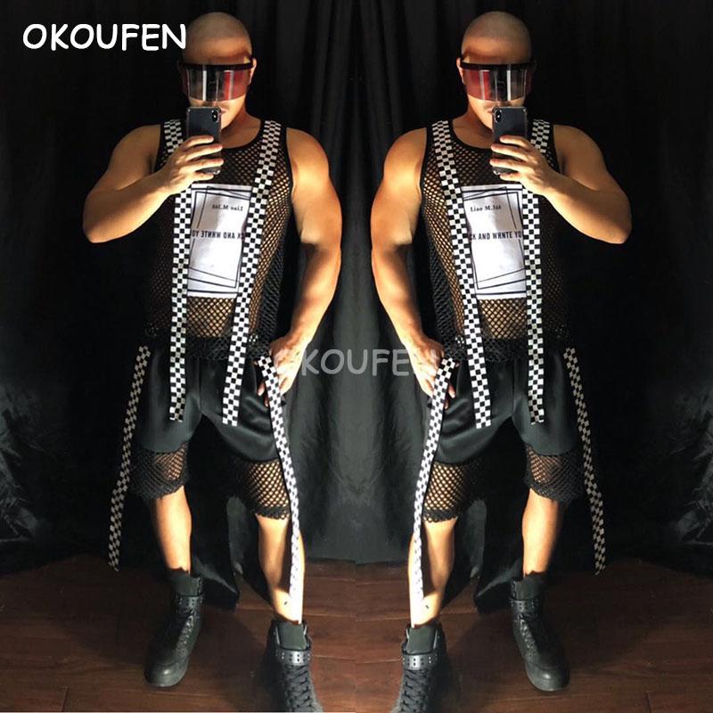 Original desigh men s new popular hollow out letters print vest suits stage show dance set
