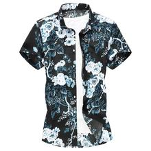 Plus Size Flower Mens Shirts Beach style Slim Floral Hawaiian Shirt Clothing 2019 Summer