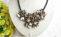 Bir el sanatları bloom kahve seashell inciler choker deri kolye hediye j7770