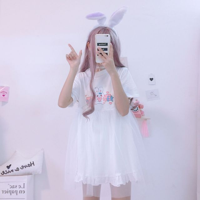 Summer Kawaii Rabbit Cute Anime Short Sleeve Pink White Dress Casual T Shirt Dress
