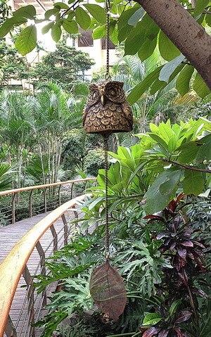 Carillons en laiton moulé hibou vent décoration japonaise suspendue Bronze métal cuivre carillon cloche jardin maison Patio maison artisanat cadeau
