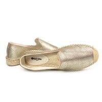 2019 женские весенние лоферы на платформе; женские комнатные туфли; Эспадрильи из натуральной кожи с закрытым носком золотистого цвета