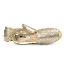 Women 2019 spring platform loafers, Women's Smoking Slipper,close toe genuine leather espadrilles gold color