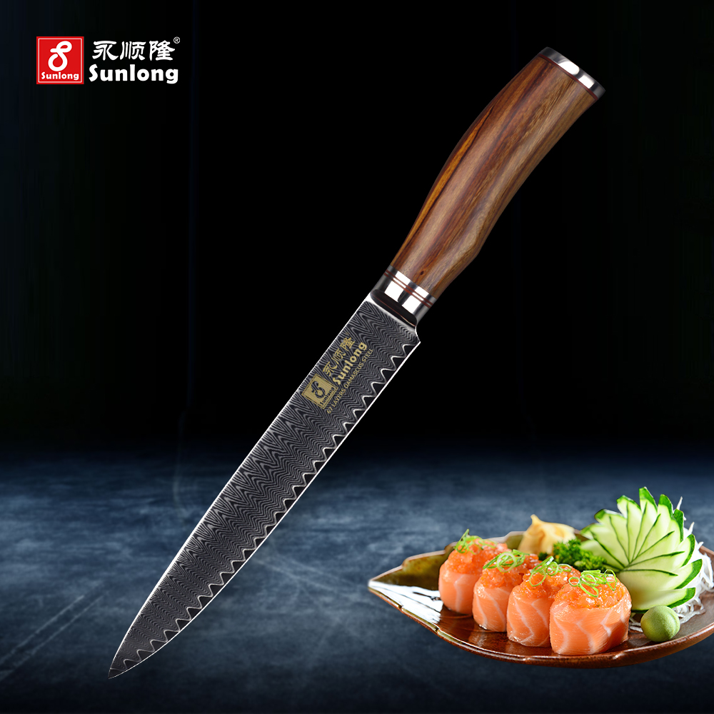 Sunlong Filleting Knives VG10 steel core 67 layers Damascus steel cuisine sushimi knife ultra thin Slicing