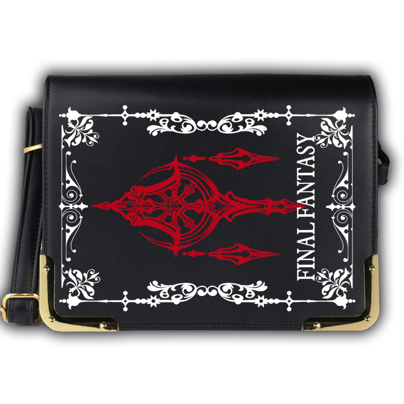 Anime Game Final Fantasy Black Bags Cosplay FF7 Messenger Bag Cartoon Lolita PU Shoulder School Crossbody Bags Satchels