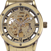 SHENHUA Brand Skeleton Mechanical Male Wristwatch Retro Bronze Case Automatic Male Clock Wrist Steampunk Watch Herren Horloge