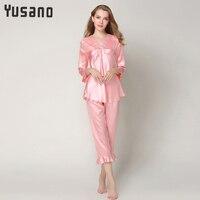 Women's Pajamas Set Long Sleeve Satin Pijama Mujer Home Clothes for Women V Neck Ruffle Bottom Pijama Feminino Women's Suit