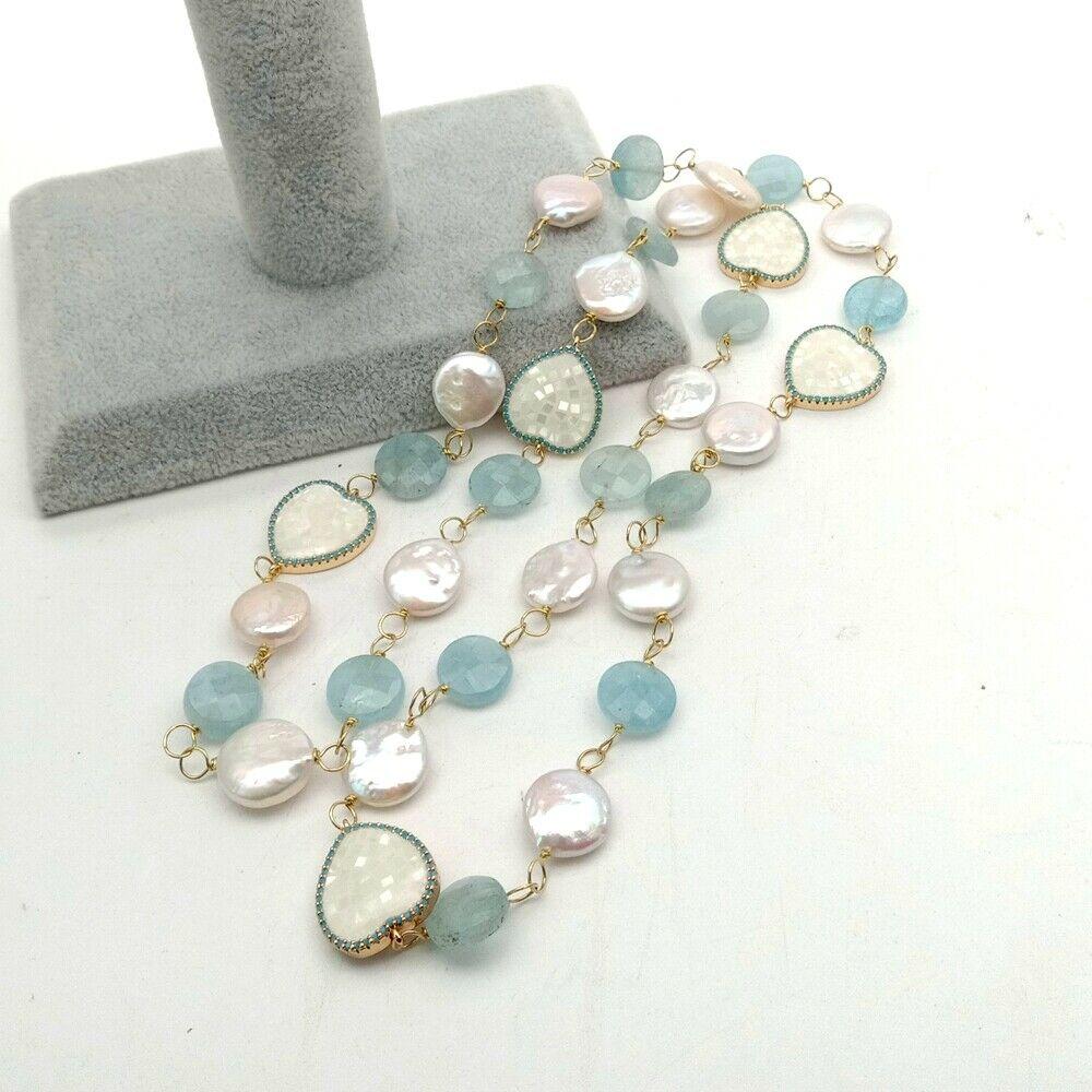 Pièce blanche perle Aquamaine connecteur de coquillage Long collier 30'' - 4