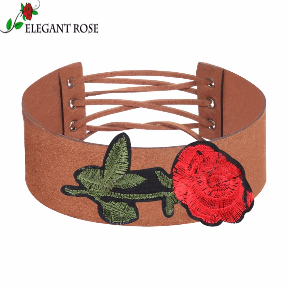 Elegant Style Fashion Two Kind Brown Color Velvet Red Rose Flowers Wide Choker Necklace For Women NR3975
