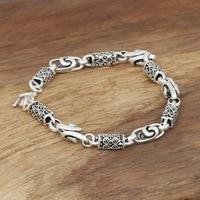 Produttori all'ingrosso s925 gioielli in argento sterling silver argento mens handmade drago di bambù piazza braccialetto