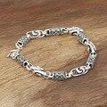 Venta al por mayor fabricantes S925 Mens hechos a mano joyería de plata esterlina plata del dragón de plata cuadrado pulsera de bambú