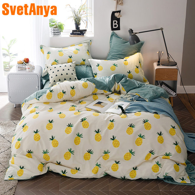 11b743fe551b Svetanya (Fleece +Cotton ) Pineapple Bedding Set Sheet Pillowcase Duvet  Cover Sets Twin Queen Full Double King size