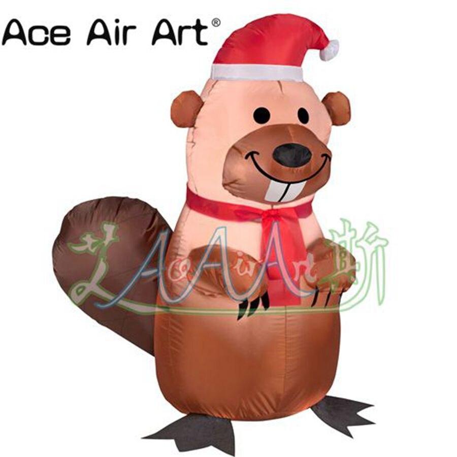 Affaire directe 3 m H drôle airsoufflé noël écureuil dessin animé animaux de noël gonflables décorations bon marché pour la fête