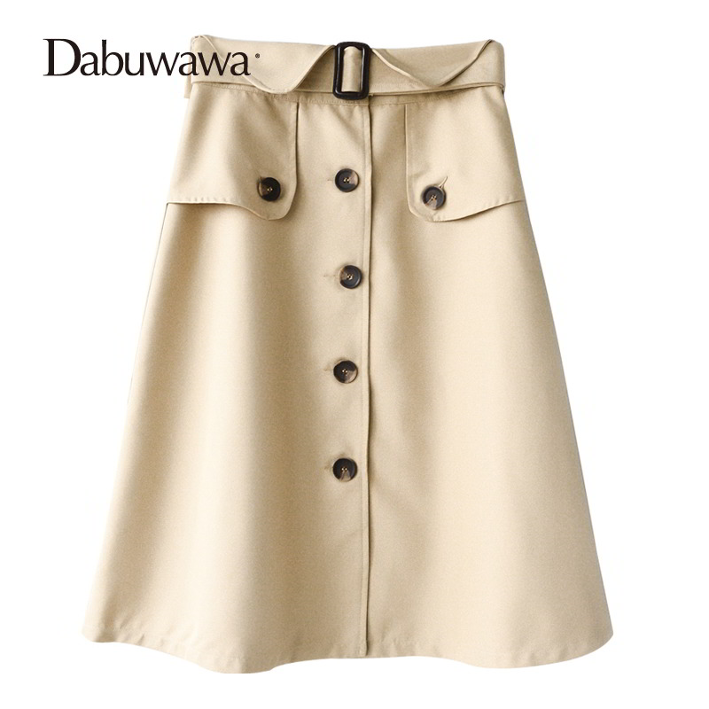 Dabuwawa Autumn Women Fashion Elegant Skirt Streetwear Casual Designer A Line High Waist Midi Skirt Faldas Mujer #D17CSK032 dabuwawa autumn women fashion sexy plaid skirt elegant mini pleated skirt short streetwear asymmetrical skirt d17csk031 page 2