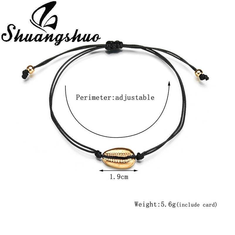Shuangshuo ファッションジュエリーシェルブレスレット女性のチャームブレスレットゴールド貝殻黒ロープチェーンブレスレットオムファム 2019