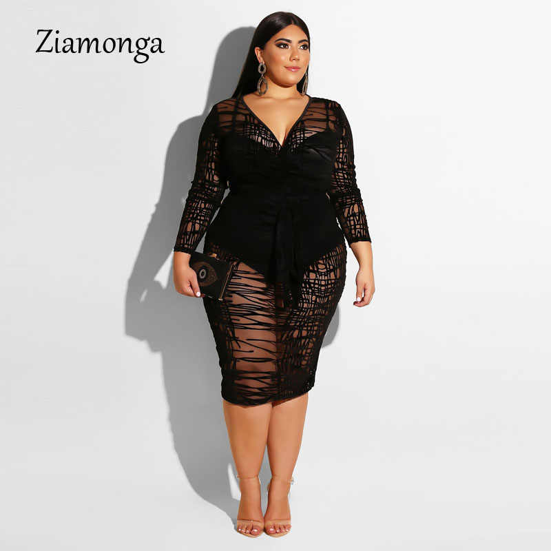 Ziamonga Plus Size XXXL 4XL Lange Mouwen Sexy Kanten Jurk Vrouwen Bodycon Lange Club Party Dress Big Size Clubwear Bandage jurk