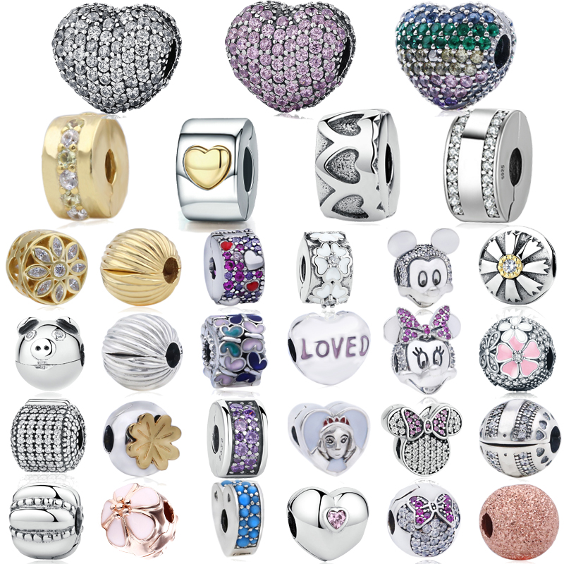 Trendy 925 Sterling Silver many types Love Heart Clips beads Fit original Pandora Charms Bracelets & Bangles DIY Jewelry(China)