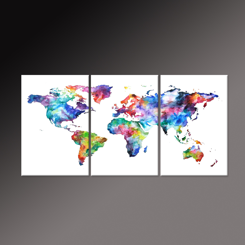 Natural color world map canvas art print on white background world natural color world map canvas art print on white background world watercolor map the picture painting print on canvas unframed in painting calligraphy gumiabroncs Gallery