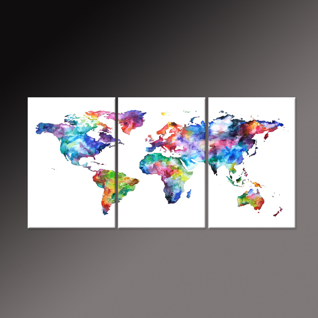 Natural Color World Map Canvas Art Print On White Background Watercolor The Picture Painting