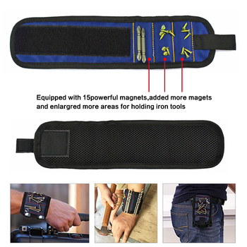 Portable Electrician Wrist Tool Belt Bag Polyester Magnetic Wristband Bracelet Screw Nail Drill Bit Holder Repair Tools Toolbox 2