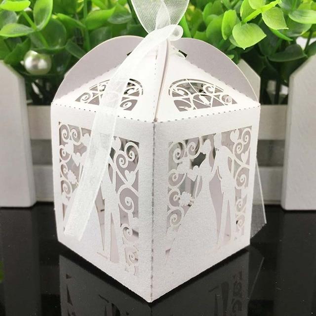 50Pcs/set Love Heart Laser Cut Gift Candy Boxes Wedding